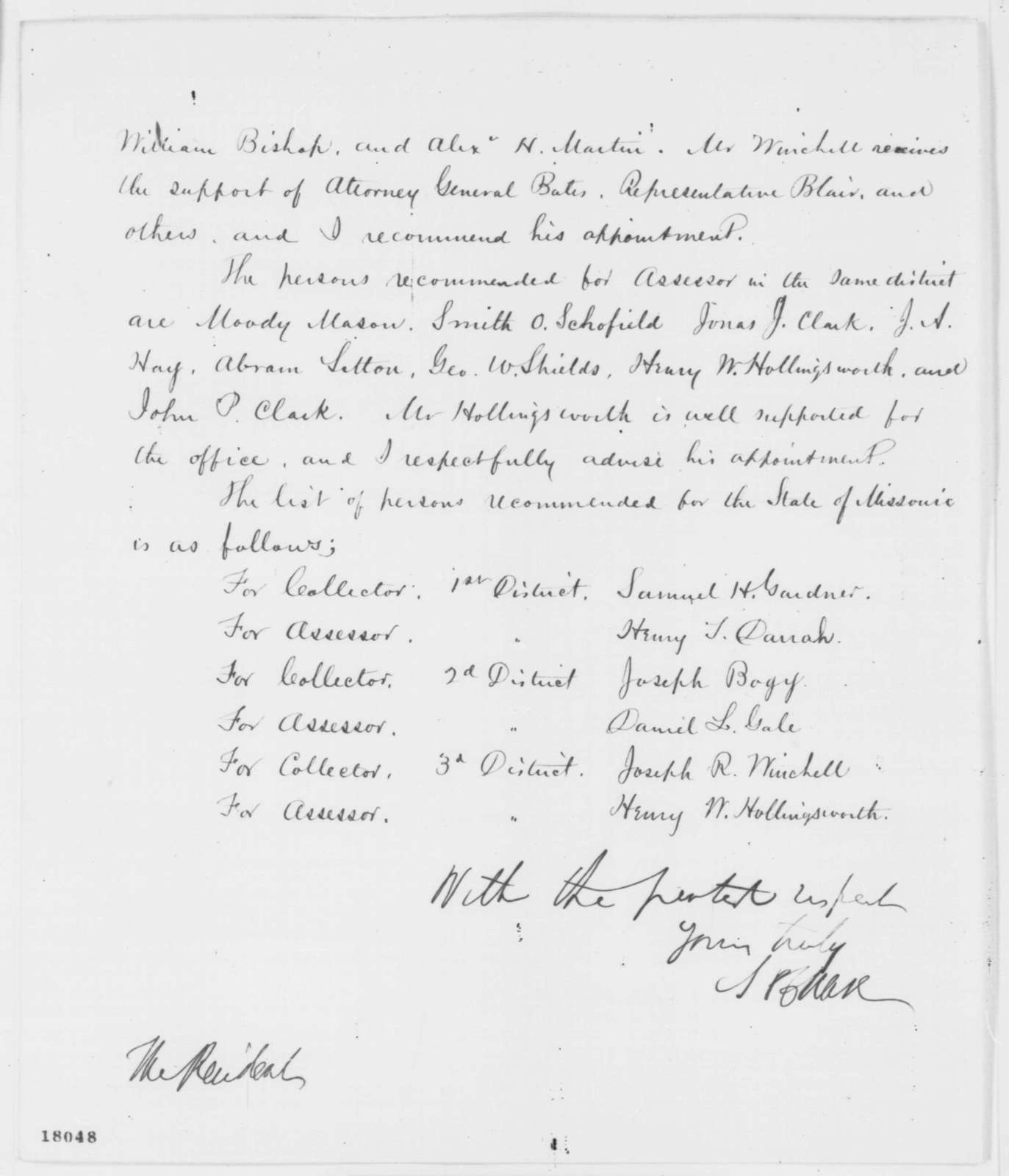 Salmon P. Chase to Abraham Lincoln, Thursday, August 28, 1862  (Missouri appointments)