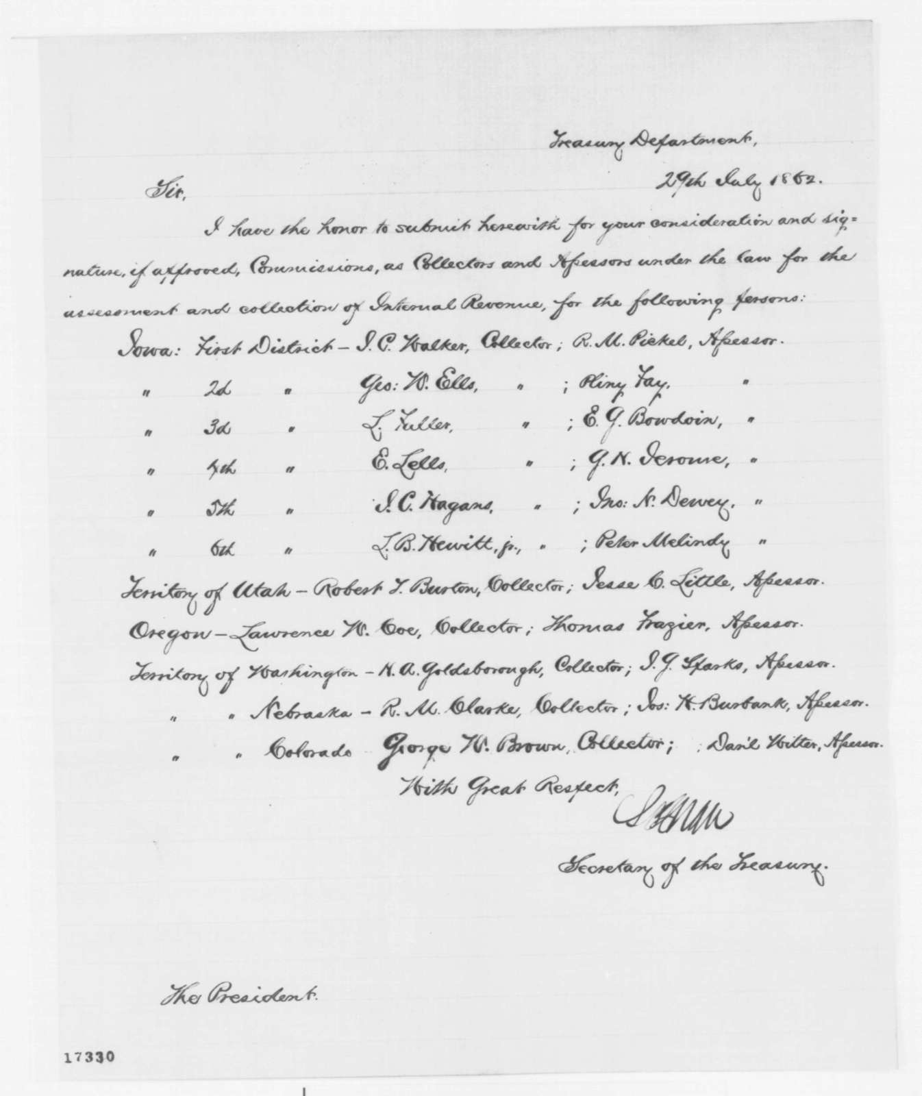 Salmon P. Chase to Abraham Lincoln, Tuesday, July 29, 1862  (Sends commissions)