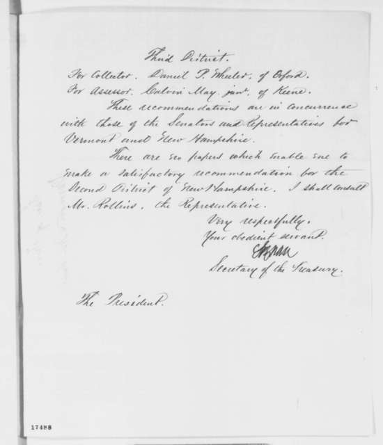 Salmon P. Chase to Abraham Lincoln, Wednesday, August 06, 1862  (Appointments)
