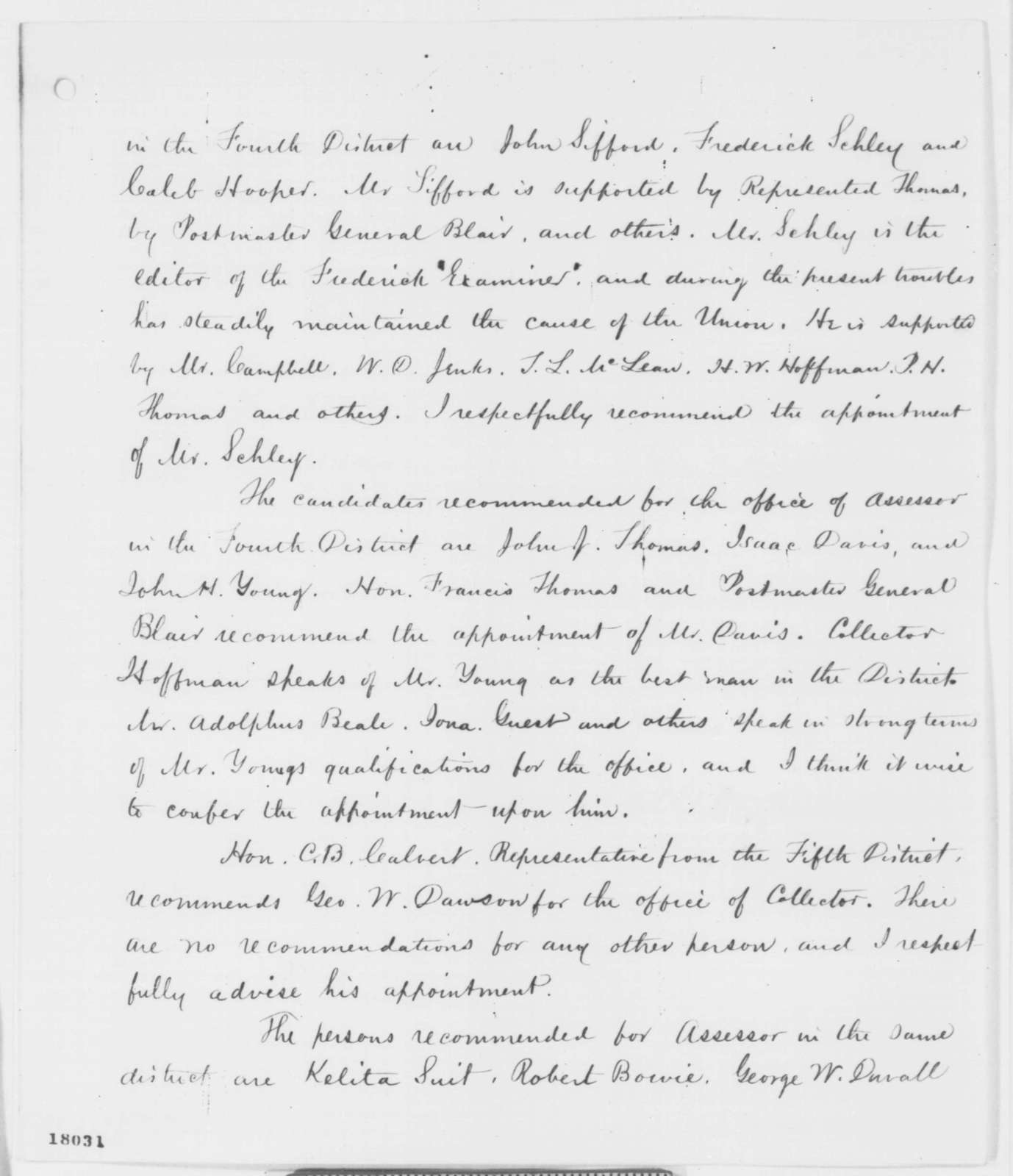 Salmon P. Chase to Abraham Lincoln, Wednesday, August 27, 1862  (Maryland appointments)