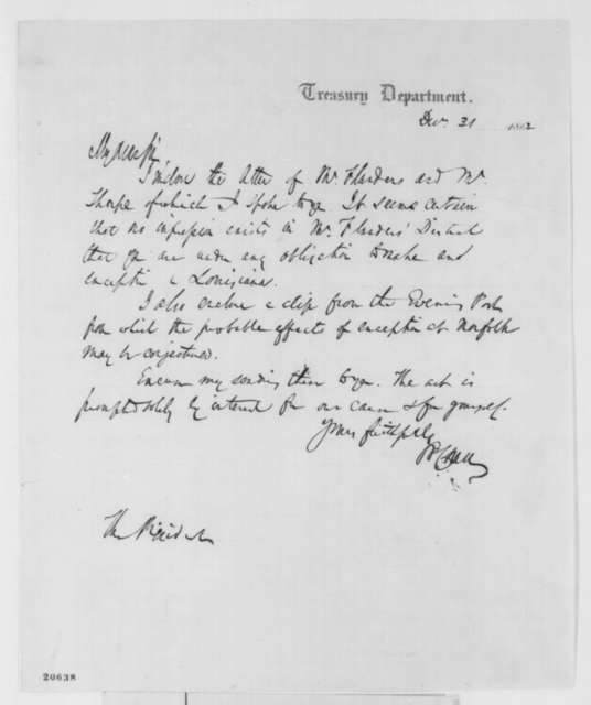 Salmon P. Chase to Abraham Lincoln, Wednesday, December 31, 1862  (Cover letter)