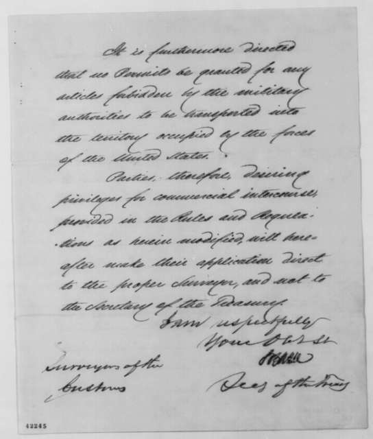 Salmon P. Chase to Surveyors of the Customs, Saturday, March 29, 1862  (Trade regulations)