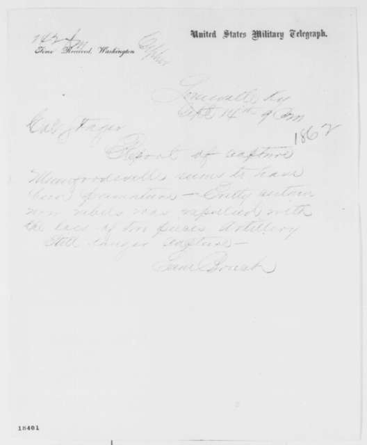 Samuel Bruch to Anson Stager, Sunday, September 14, 1862  (Telegram concerning military affairs)