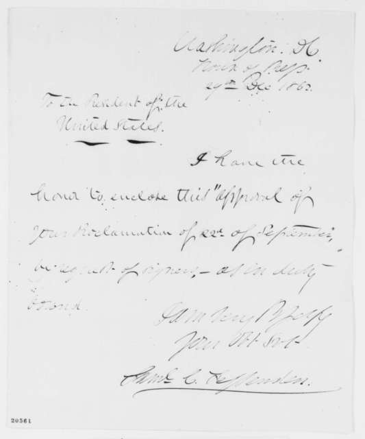 Samuel C. Fessenden to Abraham Lincoln, Monday, December 29, 1862  (Cover letter)