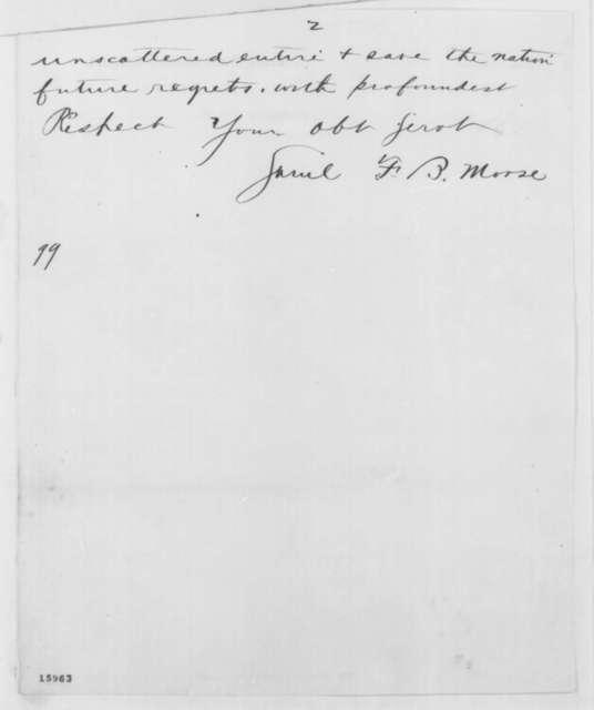 Samuel F. B. Morse to Abraham Lincoln, Friday, November 14, 1862  (Telegram regarding sale of library)