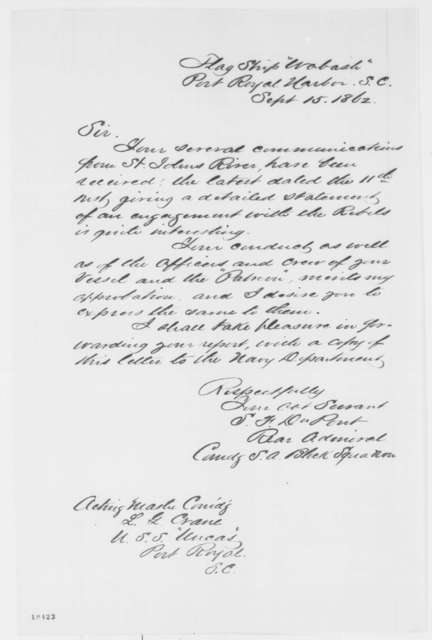 Samuel F. Dupont to L. G. Crane, Monday, September 15, 1862  (Acknowledgment)