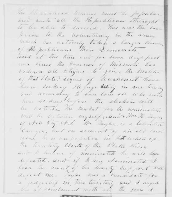 Samuel G. Daily to Abraham Lincoln, Friday, August 08, 1862  (Politics in Nebraska Territory)