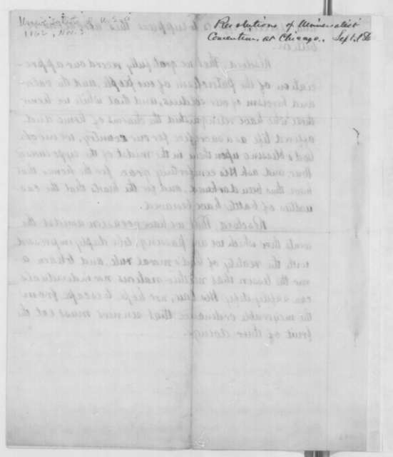 Samuel Hersey, E.G. Brooks, and Abel C. Thomas to Abraham Lincoln, Monday, November 03, 1862  (Send resolutions from General Convention of Universalist Church)