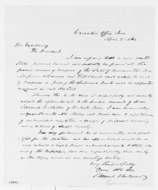 Samuel J. Kirkwood to Abraham Lincoln, Friday, April 25, 1862  (Recommendation)