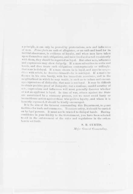 Samuel R. Curtis, Monday, October 20, 1862  (Printed Order)