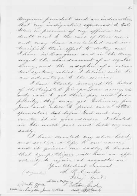 Samuel R. Curtis to Abraham Lincoln, Sunday, November 09, 1862  (Charges concerning cotton speculation)
