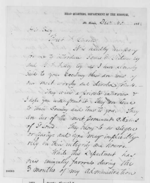 Samuel R. Curtis to Abraham Lincoln, Tuesday, December 30, 1862  (Introduce James E. Yeatman and Giles F. Filley)