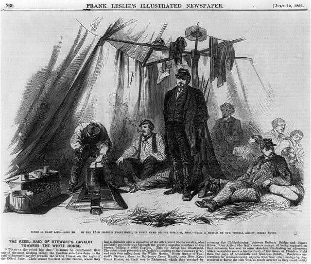 Scene in camp life--mess no. of the 13th Illinois Volunteers, in their camp before Corinth, Miss. / from a sketch by our special artist Henri Lovie.
