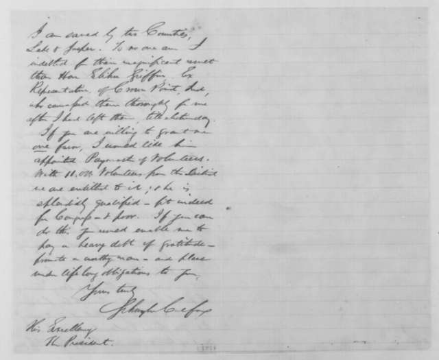 Schuyler Colfax to Abraham Lincoln, Saturday, October 18, 1862  (Colfax's reelection)