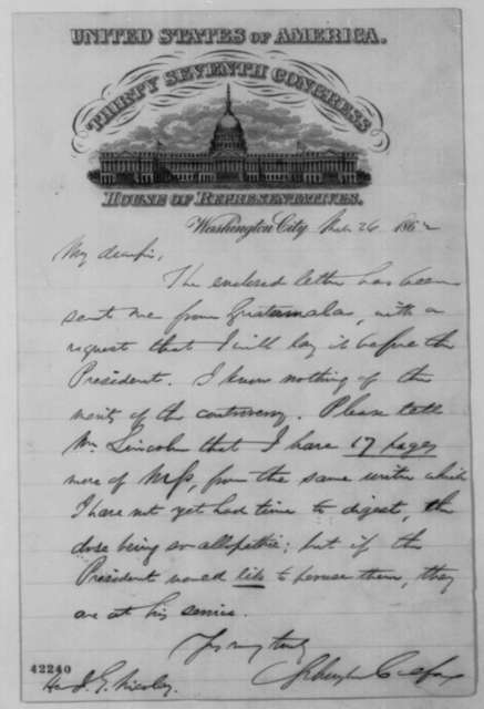 Schuyler Colfax to John G. Nicolay, Wednesday, March 26, 1862  (Cover letter)
