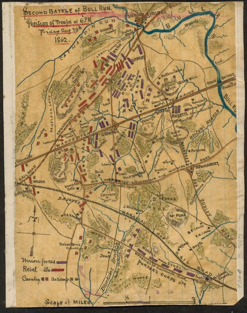 Second Battle of Bull Run position of troops at 6 p.m.