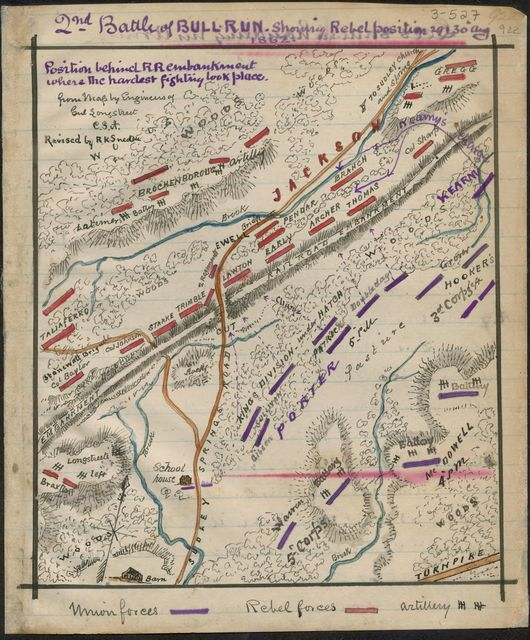 Second Battle of Bull Run showing rebel position 29 and 30 Aug 1862
