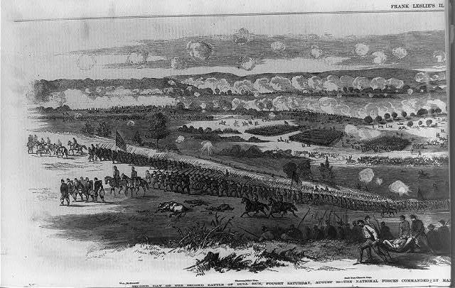 Second day of the second battle of Bull Run, fought Saturday, August 30--the National forces commanded by Major General Pope, and the rebel troops by General Lee, Jackson and Longstreet / from a sketch by our special artist, Mr. Edwin Forbes.