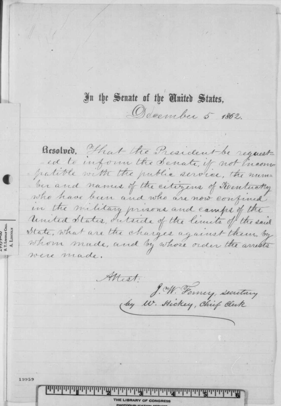 Senate, Friday, December 05, 1862  (Resolution concerning military arrests in Kentucky)