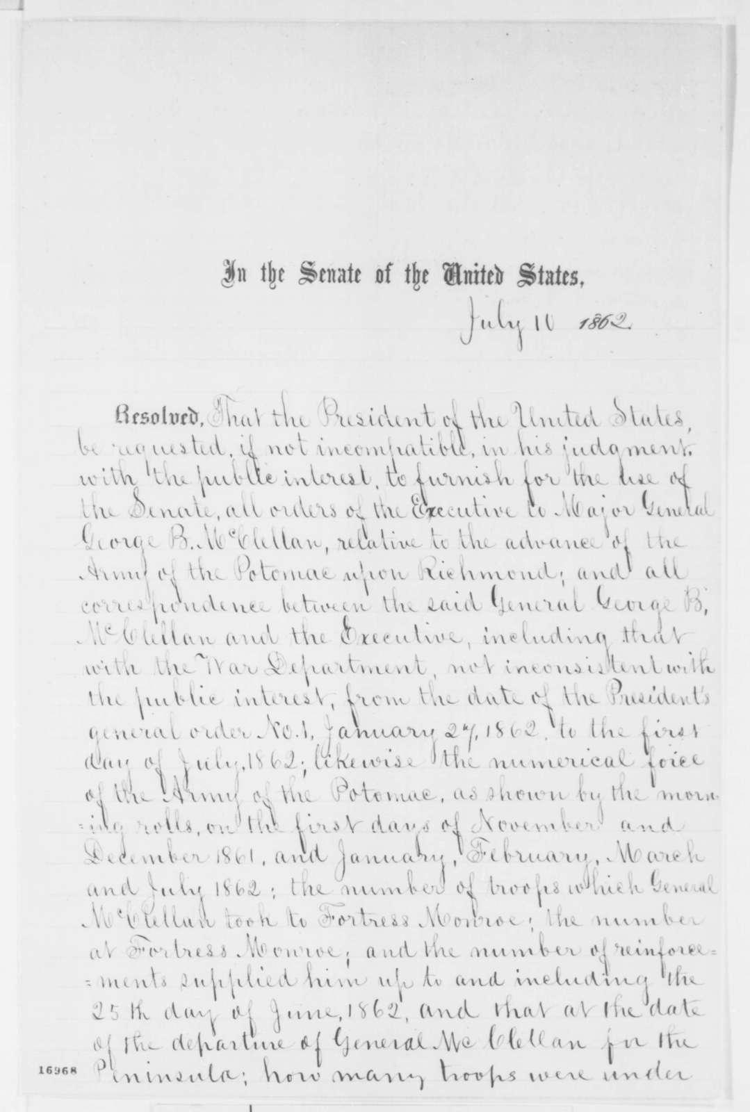 Senate, Thursday, July 10, 1862  (Resolution)