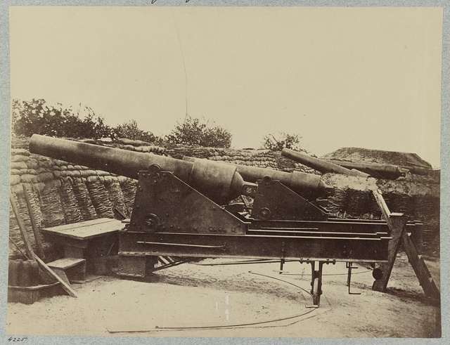 Siege of Yorktown. Federal Battery No. 1, near Farnhold's house, mounting one 200 pdr. and ten 100 pdr. guns