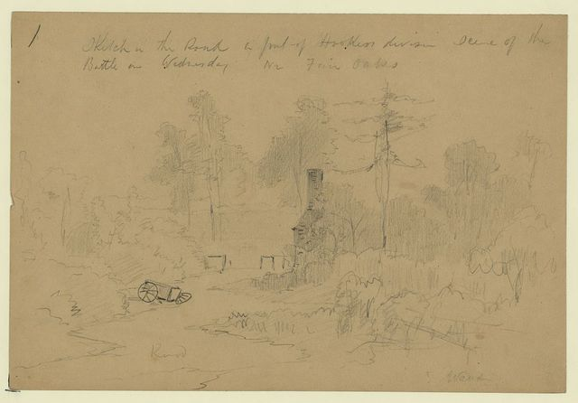 Sketch in the Road in front of Hookers division scene of the Battle on Wednesday nr Fair Oaks