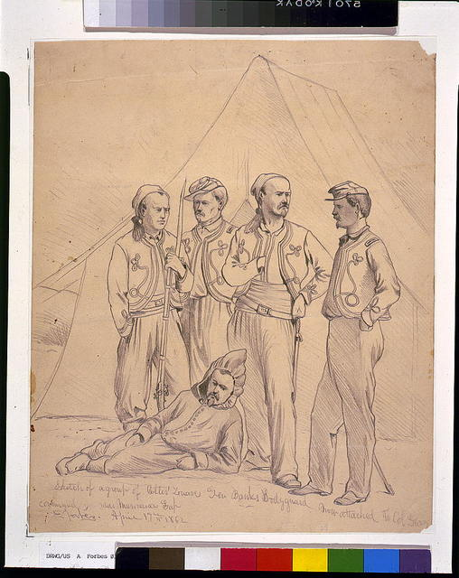 Sketch of a group of Collis' Zouaves--Gen. Banks bodyguard, now attached to Col. Geary command, near Manassas Gap / E. Forbes.