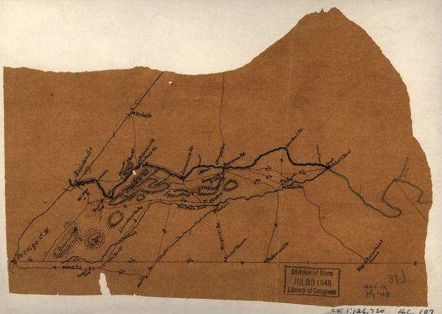 [Sketch of a portion of Orange County, north and east of Orange showing the Rapidan River from Rapidan Station to Germanna Mills and the Plank Road to Robertson's Tavern at Trap].