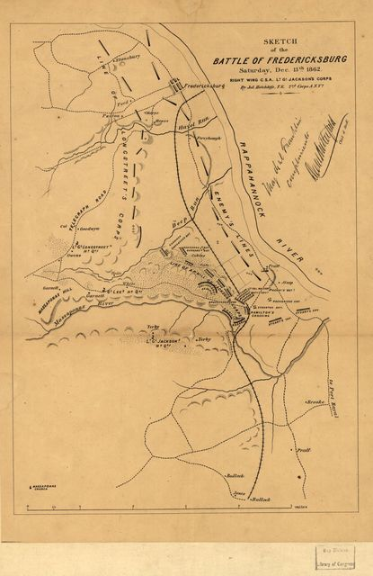 Sketch of the battle of Fredericksburg, Saturday, Dec. 13th 1862, Right Wing, C.S.A., Lt. Gl. Jackson's corps /