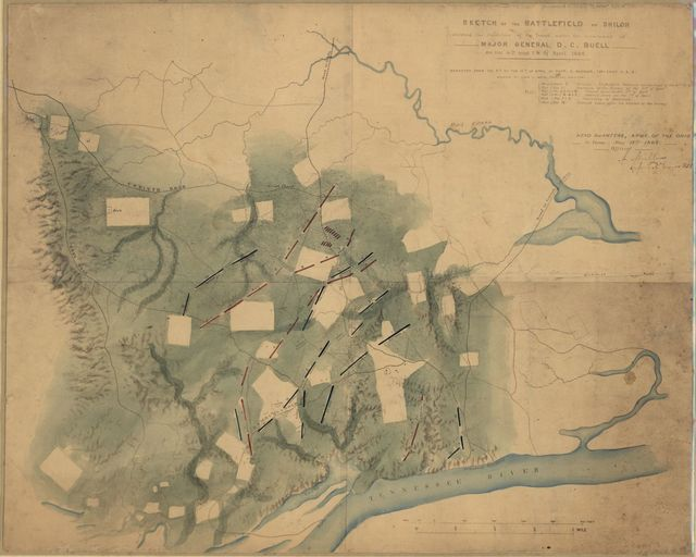 Sketch of the battlefield of Shiloh : showing the disposition of the troops under the command of Major General D.C. Buell, on the 6th and 7th of April, 1862 /