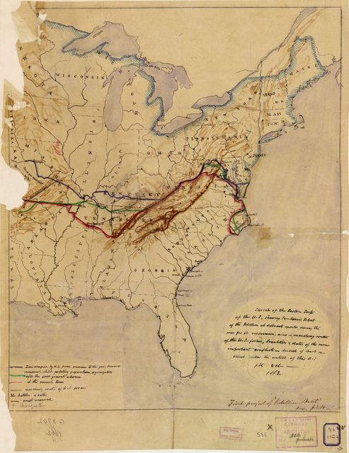 Sketch of the eastern part of the U.S., showing territorial extent of the rebellion at different epochs during the war for its suppression : also--marching routes of the U.S. forces, localities & dates of the more important conflicts--districts of coast returned under the control of the U.S., etc. & etc.