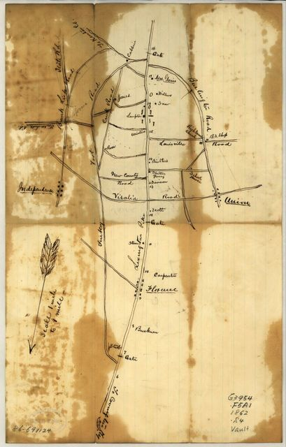 Sketch of vicinity of head qtrs. U.S. forces, Snows Pond, Kentuckey [sic].