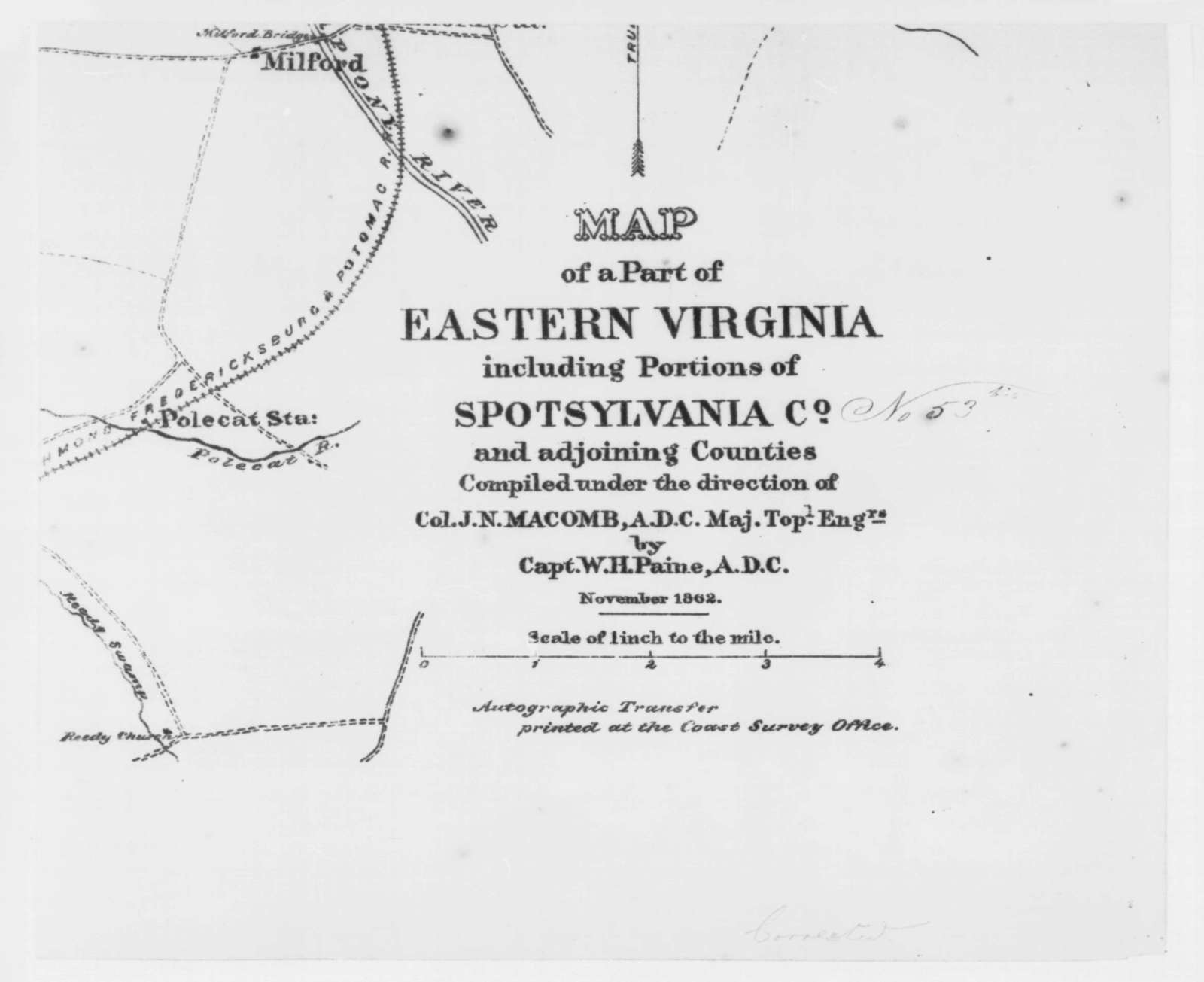 Spottsylvania Virginia, November 1862  (Map)