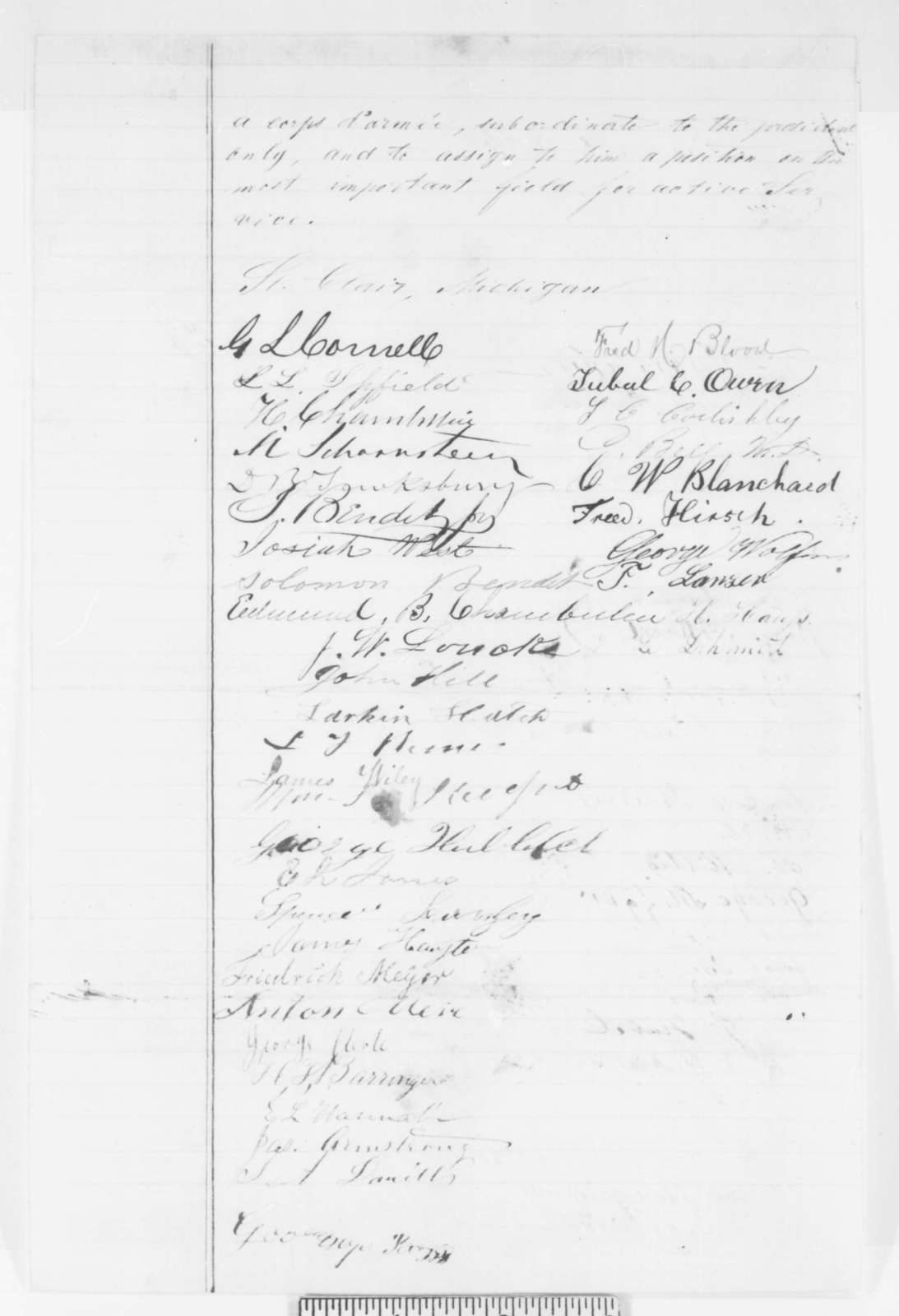 St. Clair Michigan Citizens to Abraham Lincoln, Friday, May 02, 1862  (Petition recommending Franz Sigel)