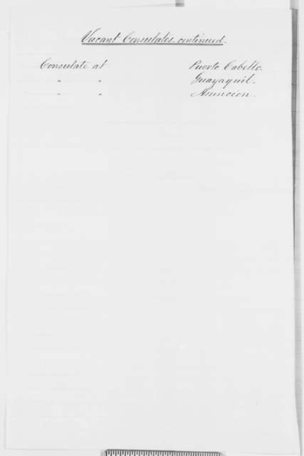 State Department, Monday, December 01, 1862  (List of recent appointments and vacancies)