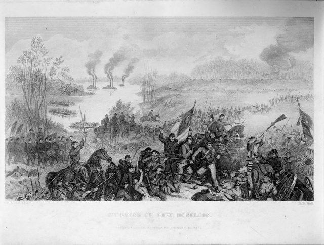 Storming of Fort Donelson / W. Momberger ; H.B. Hall.