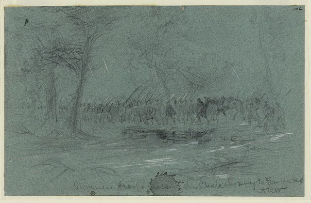 Sumners troops crossing the Chickahominy to Fair Oaks