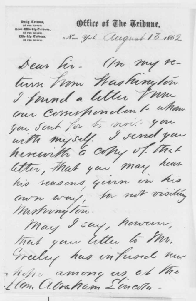 Sydney H. Gay to Abraham Lincoln, [August 1862]  (Lincoln's letter to Greeley)