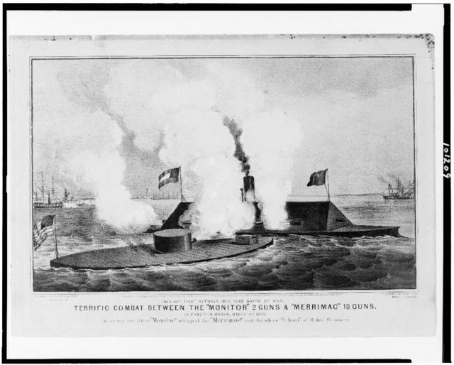"""Terrific combat between the """"Monitor"""" 2 guns & """"Merrimac"""" 10 guns The first fight between iron clad ships of war, in Hampton Roads, March 9th 1862, in which the little """"Monitor"""" whipped the """"Merrimac"""" and the whole """" school"""" of Rebel steamers."""