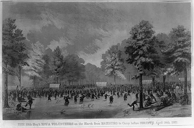 The 10th Reg't Iowa Volunteers on the march from Hamburg to camp before Corinth, April 28th 1862 / sketched by A.E. Mathews, 31st Reg't O.V.I. ; Middleton & Strobridge lithographers.