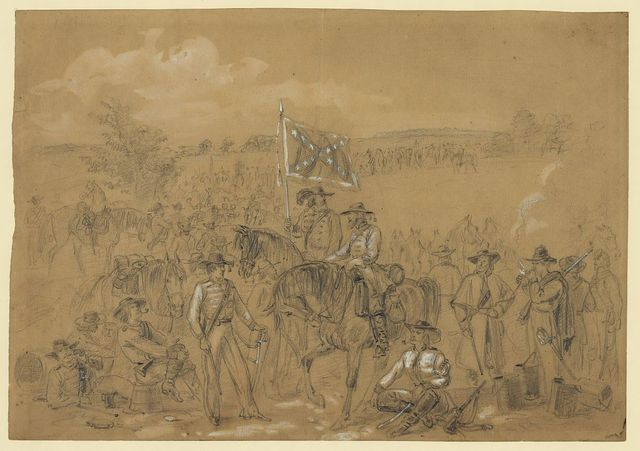 [The 1st Virginia Cavalry at a halt]