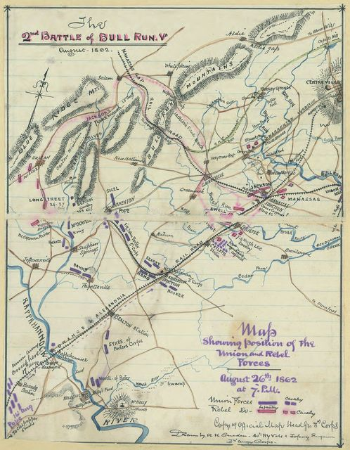 The 2nd Battle of Bull Run, Va., August 1862. Map showing position of the Union and Rebel forces, August 26th, 1862 at 7 p.m.