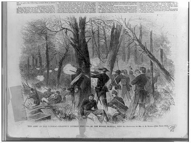 The Army of the Potomac--Kearney's division fighting in the woods, Monday, June 30 / sketched by A.R. Waud.