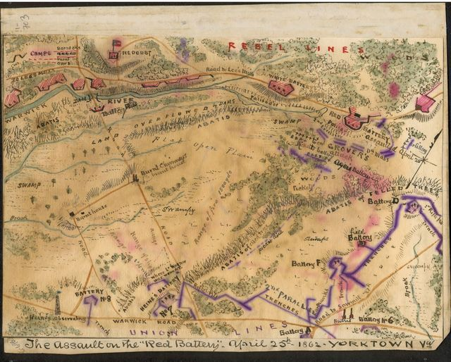 """The assault on the """"Red Battery,""""  April 25th, 1862 Yorktown, Va."""