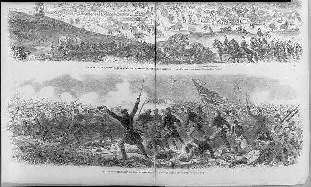 The attack of the 2nd Iowa Regt. on the rebel batteries at Fort Donelson