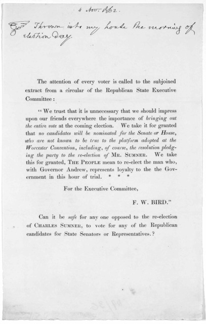 """The attention of every voter is called to the subjoined extract from a circular of the Republican State Executive committee. """"We trust that it is unnecessary that we should impress upon our friends everywhere the importance of bring out the enti"""