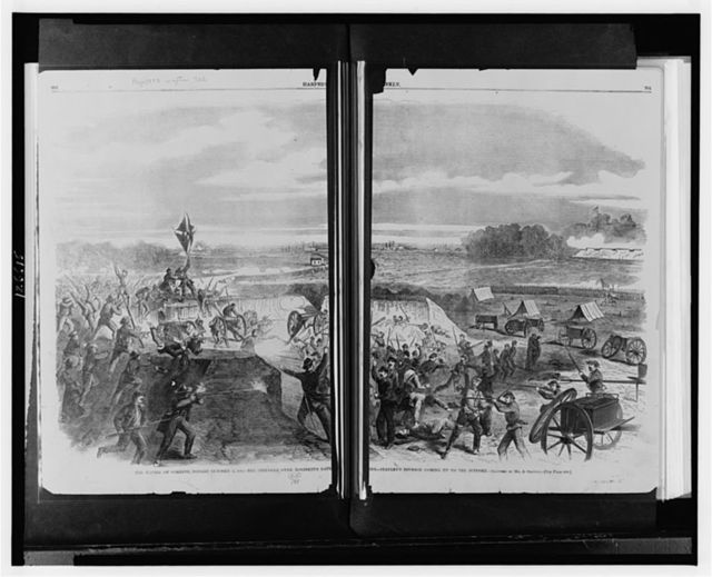 The battle of Corinth, fought October 4, 1862 The struggle over Robinett's battery : Stanley's division coming up to the support / / sketched by Mr. A. Simplot.