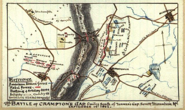The Battle of Crampton's Gap 5 miles south of Turner's Gap, South Mountain, Md. September 14th 1862.