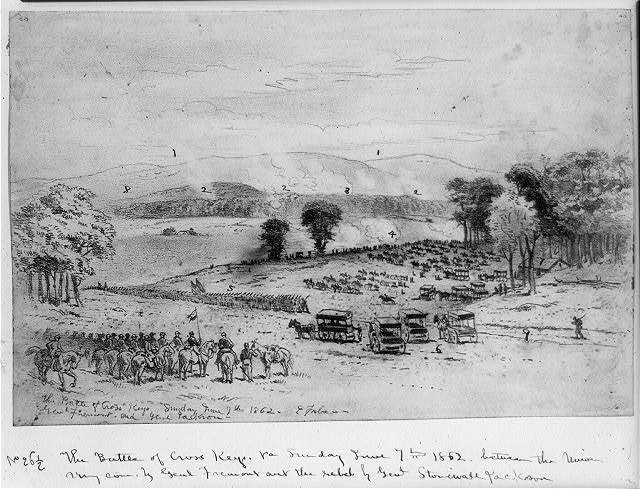 The battle of Cross Keys--Sunday June 7th 1862--Genl. Fremont and Genl. Jackson / E. Forbes.