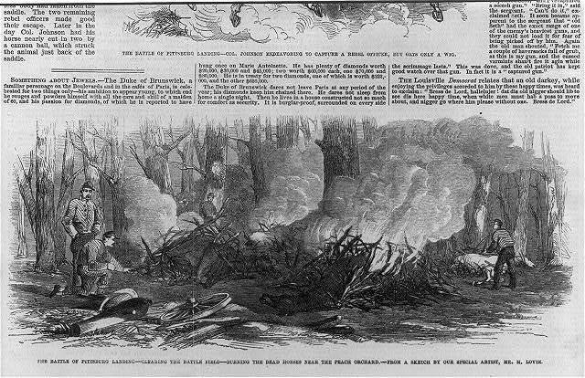 The Battle of Pittsburg Landing [Shiloh, Tenn., April 1862]: Burning the dead horses near the Peach Orch.